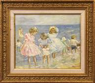 OIL ON CANVAS PAINTING OF CHILDREN PLAYING