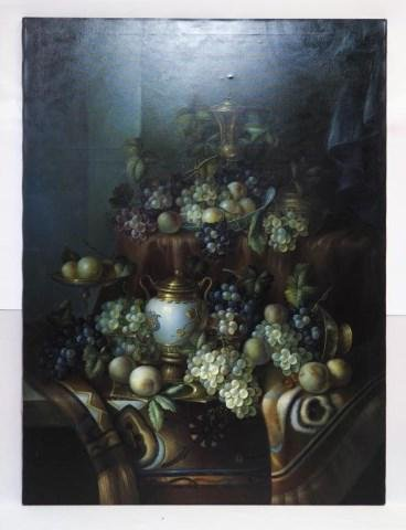 OIL ON CANVAS PAINTING OF VASE AND GRAPES
