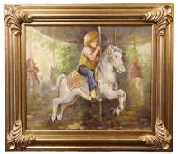 AMNERIS OIL PAINTING OF CHILD ON ROCKING HORSE