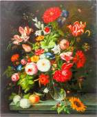 OIL PAINTING ON CANVAS OF A POTTED FLOWERS