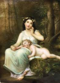 A FINE PORCELAIN PLAQUE OF VENUS AND CUPID, Marked KPM