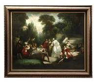 19TH C OIL PAINTING ON CANVAS OF A COURTYARD SCENE