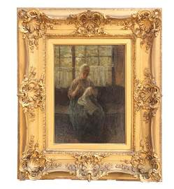 GILTWOOD FRAMED OIL PAINTING ON BOARD, OF A LADY