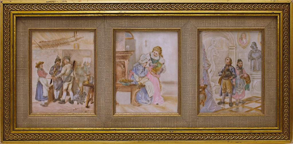 THREE HAND PAINTED TRANSLUCENT PORCELAIN PLAQUES
