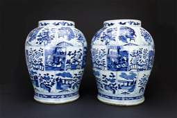 PAIR OF LARGE CHINESE BLUE  WHITE TEMPLE JARS