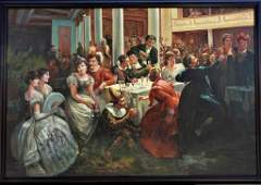 A LARGE OIL PAINTING OF A SOCIAL GATHERING IN A THEATRE