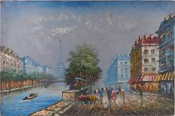 OIL PAINTING ON CANVAS OF SEINE RIVER VIEW
