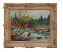 CANADIAN OIL ON BOARD PAINTING OF A FISHING MAN