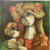 MODERN PAINTING OF A MOTHER AND DAUGHTER