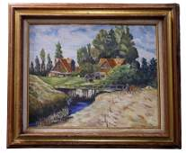 OIL PAINTING ON CANVAS OF A COUNTRYSIDE SCENE