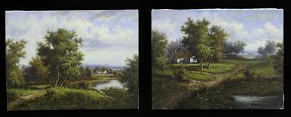 PAIR OF LANDSCAPE OIL ON CANVAS PAINTINGS