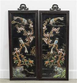 PAIR OF CHINESE PANELS WITH BEAUTIFUL INLAYS