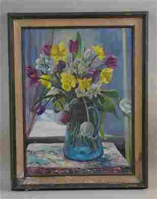 OIL ON CANVAS PAINTING OF FLOWERS