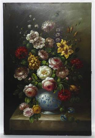 OVERFLOWING VASE OF FLOWERS OIL ON CANVAS PAINTING