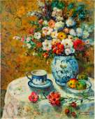 STILL LIFE OIL ON CANVAS PAINTING OF FLOWERS