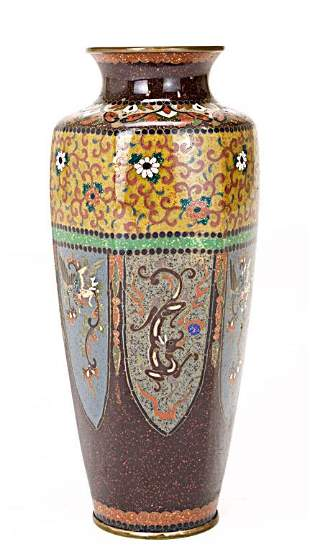 JAPANESE CLOISONNE VASE WITH HEXAGONAL BODY