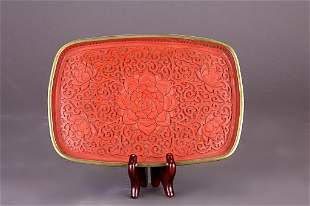 CHINESE HAND CARVED RED LACQUER DISH