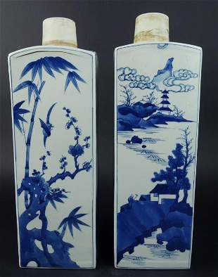 PAIR OF CHINESE BLUE AND WHITE SQUARE VASES