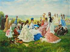 LARGE OIL ON CANVAS PAINTING OF A PARK GATHERING