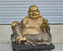 CHINESE GILTBRONZE FIGURE OF A HAPPY BUDDHA