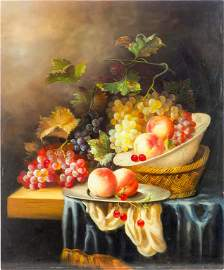 STILL LIFE OIL PAINTING ON CANVAS OF FRUITS