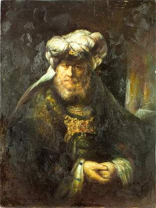 OIL PAINTING ON CANVAS OF A RABBI