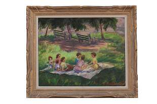 FRAMED PAINTING OF A PICNIC SCENE