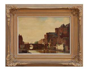 GILTWOOD FRAMED PAINTING ON BOARD OF A DUTCH SCENE
