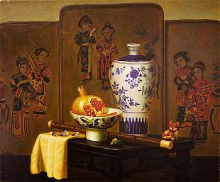 OIL PAINTING ON CANVAS OF CHINESE STYLE STILL LIFE