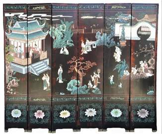 LARGE CHINESE SIX-PANEL FLOOR SCREEN