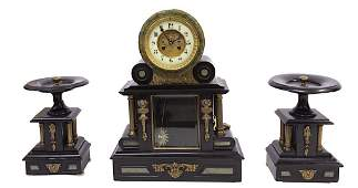 FRENCH THREE-PIECE BLACK SLATE CLOCK SET