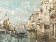 OIL PAINTING ON CANVAS OF A CANAL CITY