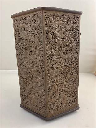 ANTIQUE CHINESE CARVED BAMBOO HEXAGONAL BRUSHPOT