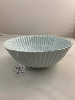 ANTIQUE CHINESE FLUTED BLANC DE CHINE BOWL