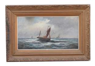 FRAMED OIL PAINTING OF SAILING SHIPS