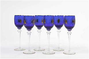 SET OF SIX BOHEMIAN GLASSES