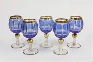 SET OF FIVE BOHEMIAN GLASSES