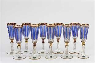 SET OF TEN BOHEMIAN GLASSES