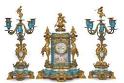 SEVRES ORMOLU THREE-PIECE CLOCK GARNITURE