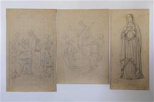 GROUP OF SIX SAINTS AND RELIGIOUS DRAWINGS