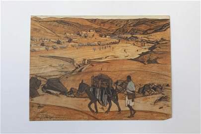 LANDSCAPE DRAWING OF TAZOULT, ALGERIA