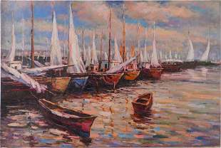 OIL PAINTING ON CANVAS OF LAKE SHORE SCENE