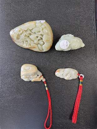 GROUP OF FOUR CHINESE WHITE JADE PIECES
