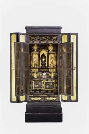 JAPANESE SHRINE CABINET, W/ THREE BUDDHA FIGURES