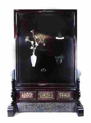 CHINESE WOOD SCREEN WITH JADE STONE INLAY