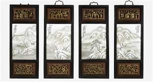 SET OF FOUR CHINESE PORCELAIN HANGING PANELS