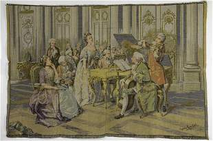 FRENCH NEEDLEPOINT TAPESTRY OF A NOBLE PARTY