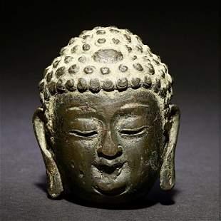 18TH C. CHINESE BRONZE FIGURE OF BUDDHA'S HEAD