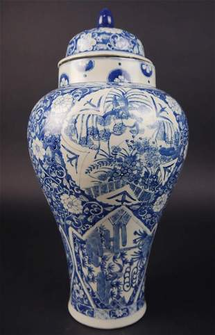 CHINESE BLUE AND WHITE MEIPING VASE WITH COVER