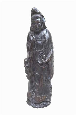 CHINESE CARVED BAMBOO FIGURE OF A GUANYIN